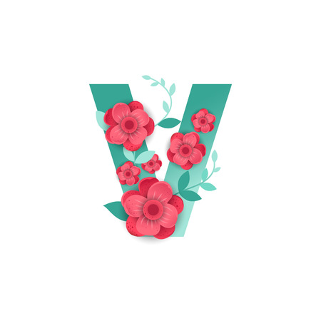 Floral Letter V Made of Flowers. Typographic, Monogram.Paper cut style. Vector illustration.