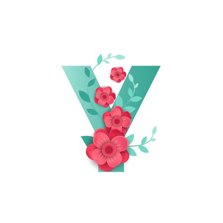 Floral Letter Y Made of Flowers. Typographic, Monogram.Paper cut style. Vector illustration.