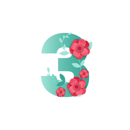 Floral number 3 Made of Flowers. Typographic, Monogram.Paper cut style. Vector illustration.