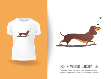 Funny dog sings song. Prints on T-shirts, sweatshirts, cases for  phones, souvenirs. Isolated vector illustration on white background. Vectores