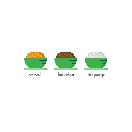 Healthy breakfast icon set.  Oatmeal, buckwheat and rice porridge. Cartoon illustration