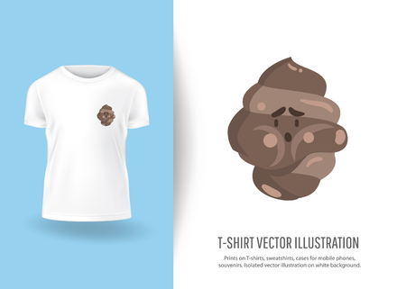 Funny cute shit. Prints on T-shirts, sweatshirts, cases for  phones, souvenirs. Isolated vector illustration on white background.