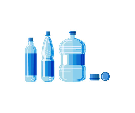 Plastic bottle water set. Blue drinking water packaged in PET Bottle. Healthy agua bottles vector illustration. Clean drink in plastic container Illustration