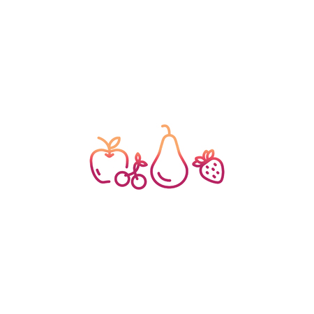 Fruits Icons in trendy line flat style. Vector Illustration.