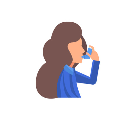 Vector illustration concept for World Asthma Day.  Woman uses an inhaler against the attack.