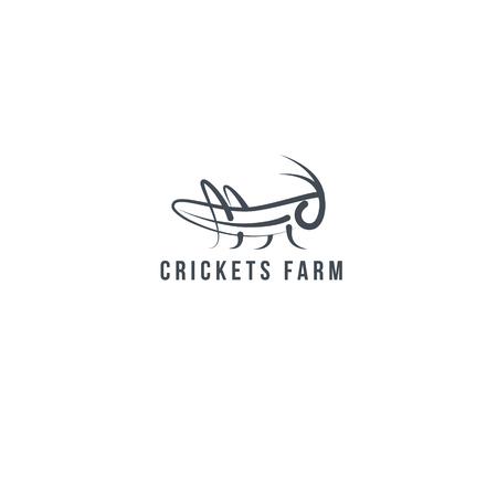 Logo-Heuschrecke, Kricket-Insektenlogo Geometrische Figur.