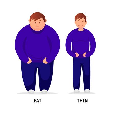 Hombre antes y después de hacer deporte. Ilustración vectorial