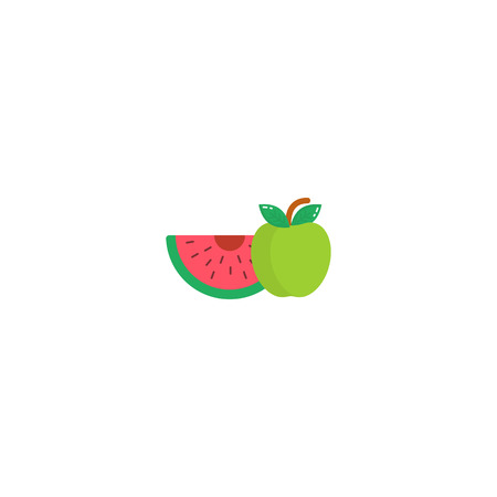 Watermelon and apple icon in a flat style. Logo watermelon isolated on white background.