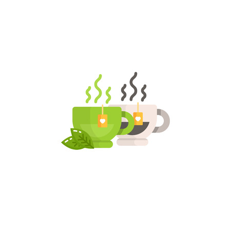Cup of black and green tea. Modern vector illustration for web and mobile.