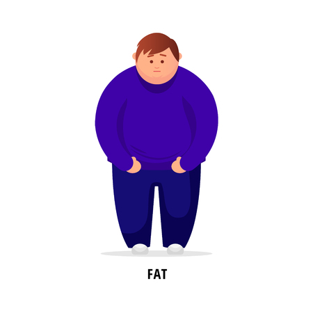 Cartoon fat man  Fat Man Feeling Sick. Vector Illustration Illustration