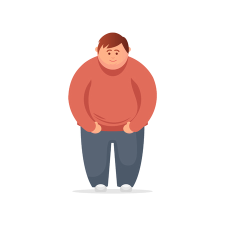 Funny Cartoon Character. Fat Man Feeling Sick. Vector Illustration
