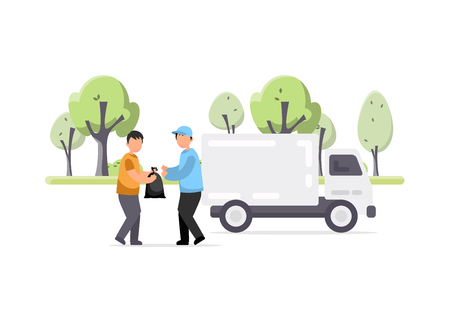 Truck. Container with garbage. Flat vector illustration in cartoon style. Garbage truck and sanitation worker vector illustration