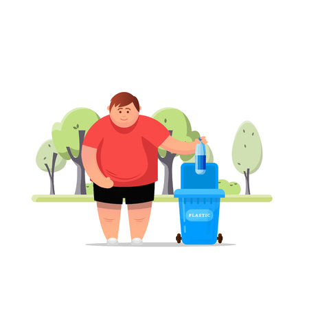 Protect the environment. Man throws a garbage in the trash. Vector illustration.Trash sorting