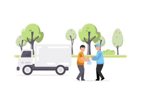 Creative illustration of man gives plastic garbage to a special employee for processing Ilustração