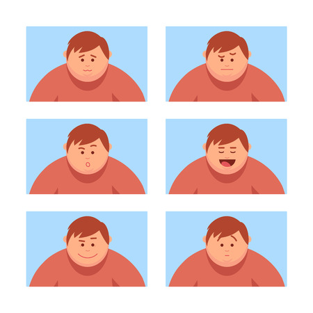 Set a man with a variety of emotions. Girl Avatar. Vector illustration of a cartoon style