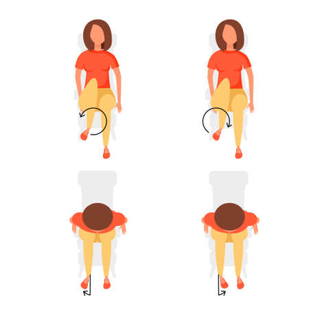 Sport exercises for office. Different postures of legs when the girl is lies, lies. Vector illustration set. 向量圖像