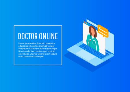 Isometric doctor online concept. Vector design infographic