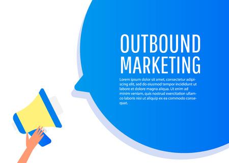 Marketing de salida. Etiqueta de megáfono. Banner para negocios, marketing y publicidad. Ilustración de vector de diseño plano.