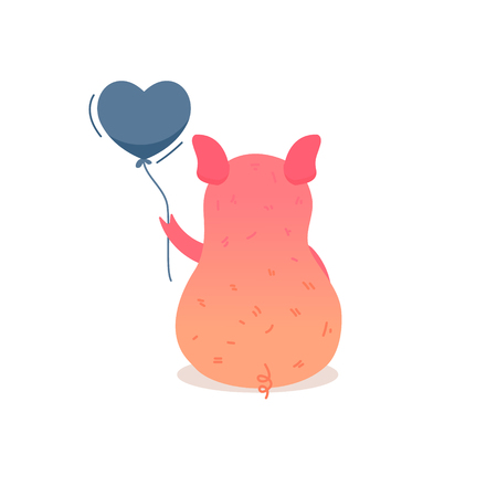 Cartoon pig holding balloon. Pig icon - vector illustration