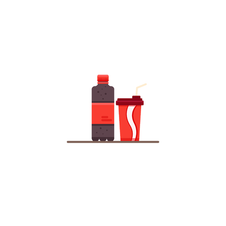 Bottle of juice, coctail. Cold drinks icon. Vector flat illustration Ilustração