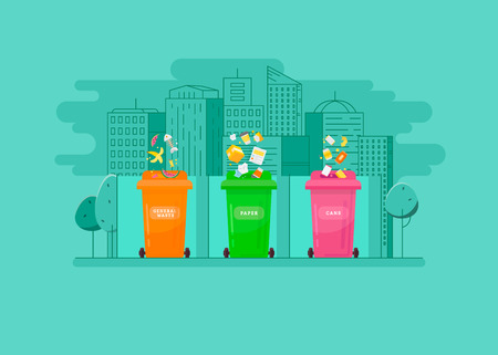 Concept of garbage sorting and garbage recycling.