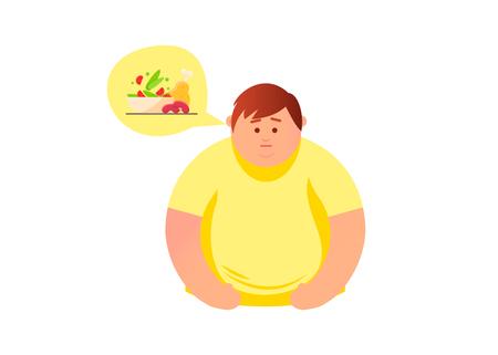 Man  thinks about food, fast food. Vector flat cartoon illustration design.