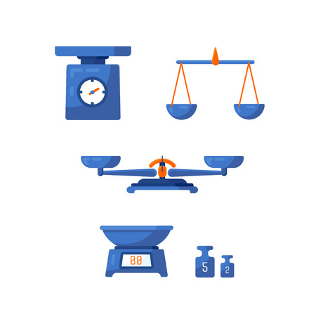 A set of different scales, weighing, weight, balance in a flat style. Vector illustration. Vectores