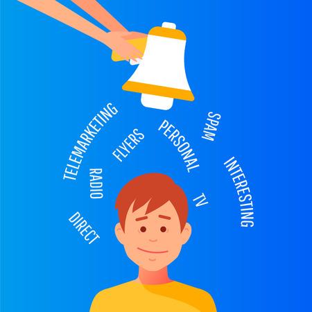 Outbound marketing. Megaphone label. Banner for business, marketing and advertising. Flat design vector illustration.