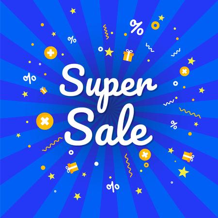 Winter  Super sale banner. Discount banner. Vector illustration.