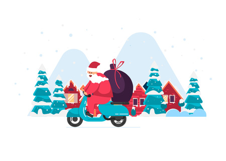 Santa is carrying gifts on a moped against a beautiful winter city with mountains. Merry Christmas