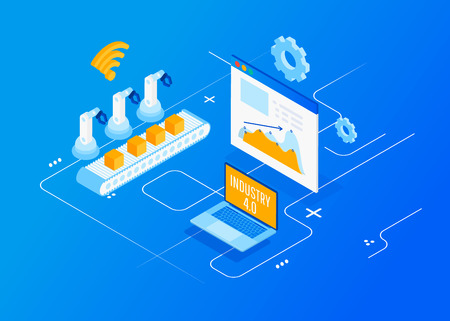 Isometric Factory automation, Industry 4.0, Internet of Things, Vector illustration for connected devices using different symbols Ilustração Vetorial