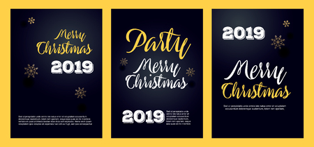 Christmas party invitation poster, flyer or brochure template. Curved, paper banner, scroll. Vector illustration.