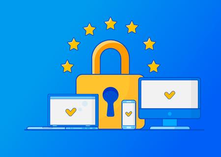 Allgemeine Datenschutzverordnung der DSGVO. Schutz personenbezogener Daten. Vektorillustration.