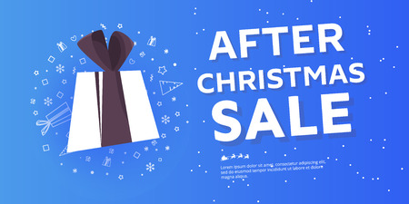 After christmas sale concept banner , snowdrift with christmas trees and different discounts