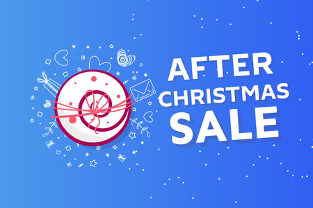 After christmas sale concept banner , snowdrift with christmas trees and different discounts Banque d'images - 111140577
