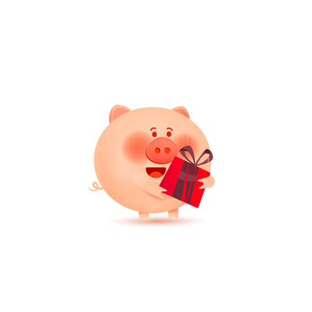A cute little pig holds a gift.Happy New Year. Holiday greeting card. Isolated vector illustration. Ilustração