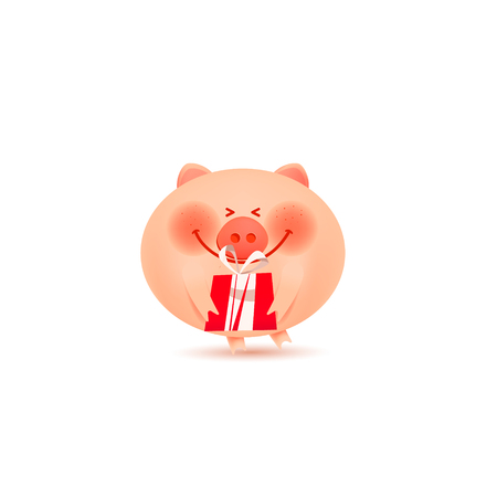 A cute little pig holds a gift.Happy New Year. Holiday greeting card. Isolated vector illustration. Illustration