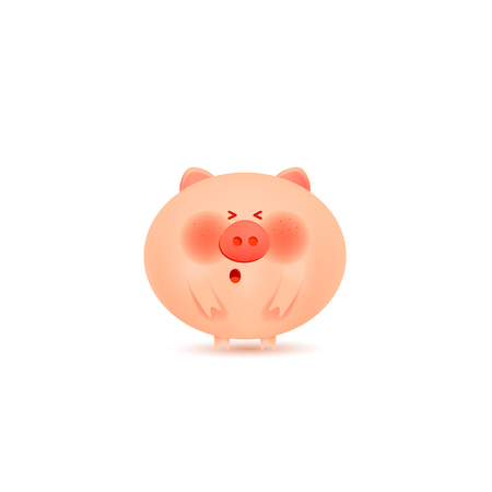 Christmas pigs. Cute pig for decoration of holiday prints.