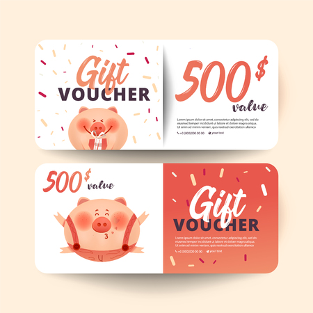 Valentine's Day voucher with pig and  gift on white background. Flat  style vector illustration. Archivio Fotografico - 112817084