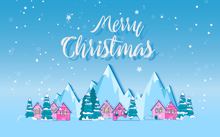 Winter holidays in the mountains concept banner. Snowy night in cozy christmas town city banner 일러스트