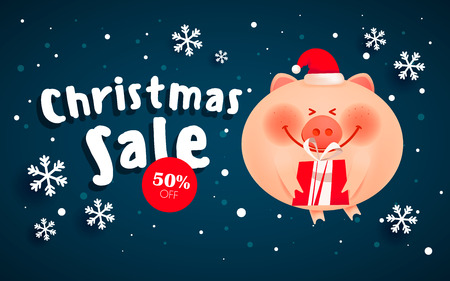 Merry Christmas banner. Merry fat pig with a gift boxes on the Christmas winter landscape background.
