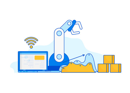 Isometric Factory automation, Industry 4.0, Internet of Things, Vector illustration for connected devices using different symbols