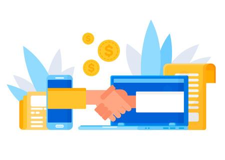 Online  business handshake. Make a deal. Concept for web page, banner, presentation, social media.