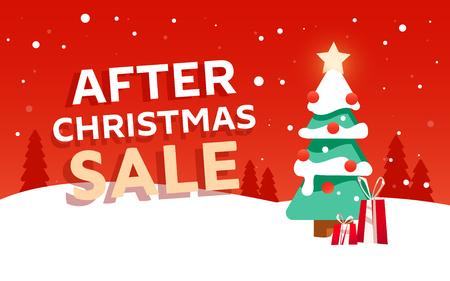 Dopo la vendita di Natale banner di design con abete e regali sullo sfondo del paesaggio invernale