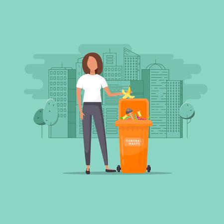 Une femme jette des ordures dans un conteneur organique sur fond de paysage urbain, illustration vectorielle. Protection environnementale