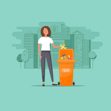Woman throws garbage into a organic container on cityscape background, vector illustration. Environmental Protection