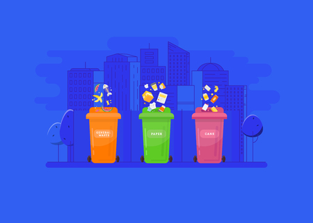 Garbage recycling and utilization concept. Collection of garbage cans with sorted garbage.