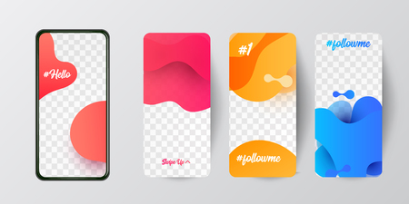 Editable story template collection photo frames with trend wave liquid  gradient splashes