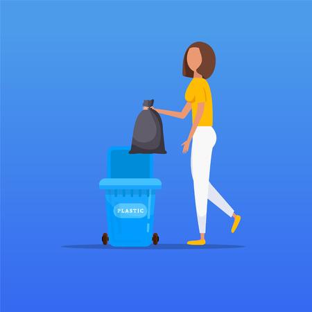 Protection environnementale. Une femme jette des ordures dans un récipient organique, illustration vectorielle.