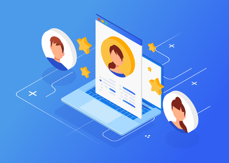 Isometric interview with the candidate, freelance, employment, recruitment, job interview for web page, banner.